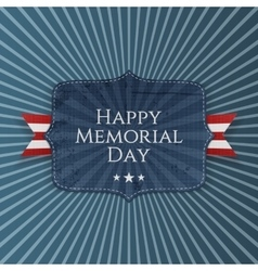 Happy memorial day greeting sign with ribbon vector