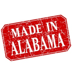 Made in alabama red square grunge stamp vector