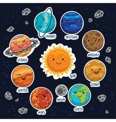 sticker set of solar system with cartoon planets vector image