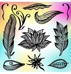 Set of Ornamental Boho Style Frames and elements vector image