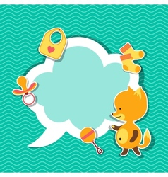 Background photo frame with little cute baby fox vector image vector image
