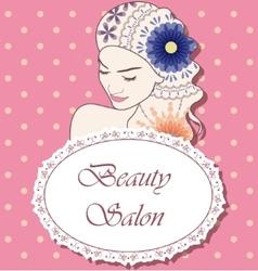 Beauty salon backgrondwith girl painted hair curly vector