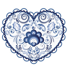 Blue floral heart vector