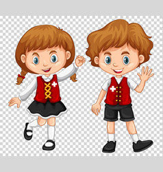 Boy and girl with switzerland flag on shirts vector