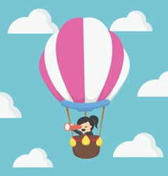 Businesswoman in hot air balloon eps10 vector