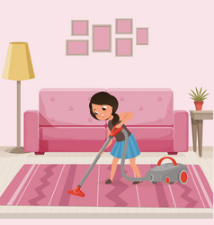 Cheerful teen girl cleaning carpet with vacuum vector