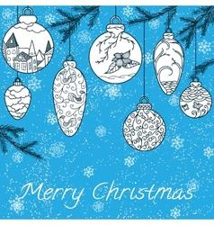 Christmas hand-drawn card vector image vector image