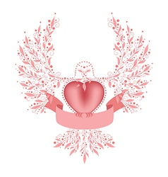 Decorative dove with ribbon vector image vector image