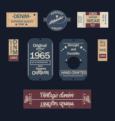 denim labels on dark background vector image vector image