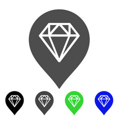 diamond map marker flat icon vector image vector image