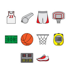 Flat color basketball icon set vector