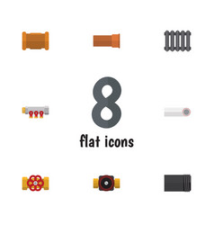 Flat icon sanitary set of pipework tube cast and vector