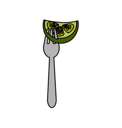 Fresh piece cucumber in the fork utensil vector