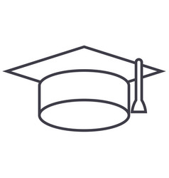 graduation cap line icon sign vector image