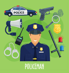 Poster of policeman occupation items vector