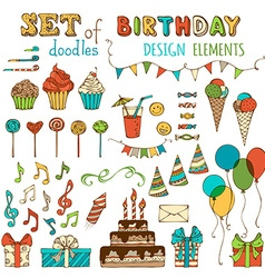 Set of happy birthday objects vector