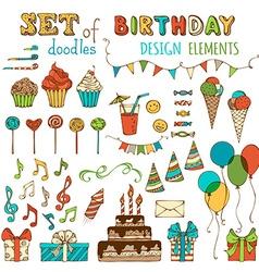Set of happy birthday objects vector