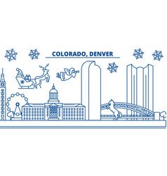 Usa colorado denver winter city skyline merry vector