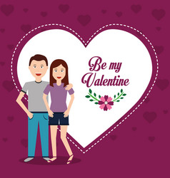 Valentine day couple love heart flower greeting vector