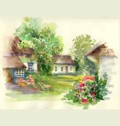 watercolor summer rural landscape with trees at vector image