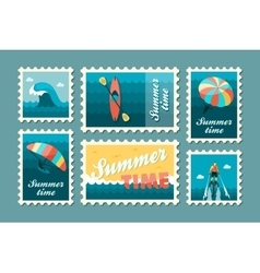 Extreme water sport stamp set summer vacation vector