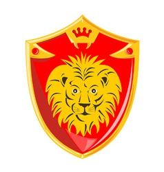 Lion crown shield retro vector