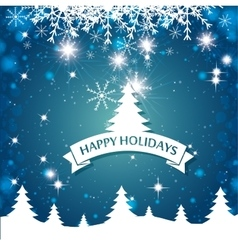 Lovely card happy holidays landscape tree vector
