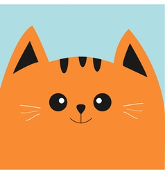 Orange red cat head with big eyes and moustache vector