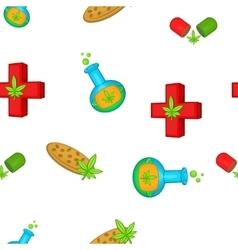 Medical marijuana pattern cartoon style vector