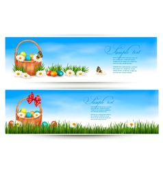 Easter banners with easter eggs in basket and vector