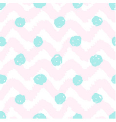 Grunge chevron and polka dots seamless pattern vector