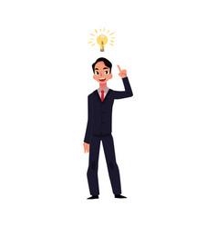 young businessman having idea lightbulb as symbol vector image