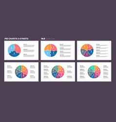 business infographics pie charts with 3-8 steps vector image