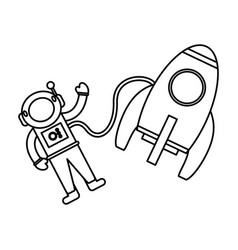 astronaut rocket exploration outline vector image