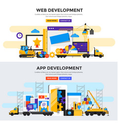 Flat design concept banner - apps and web vector