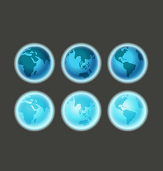 Different earth sides on dark infographic template vector