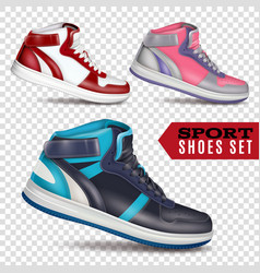 Color sport shoes on transparent background vector