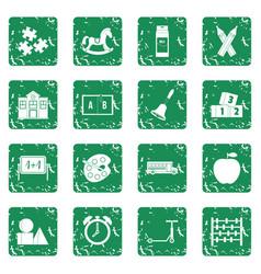 Kindergarten symbol icons set grunge vector