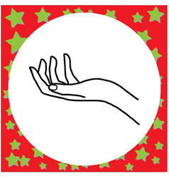 left hand open and ready to help or receive vector image