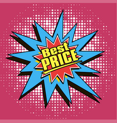 Icons in pop art style on the theme of sale price vector