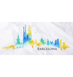 Silhouette watercolor barcelona vector