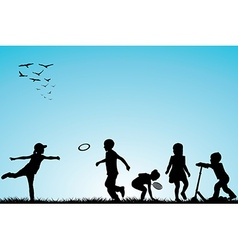Kids silhouettes playing outdoor vector