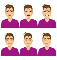 Man on six different face expressions set vector