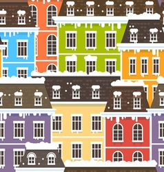Winter city seamless pattern vector
