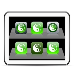 Ying yang green app icons vector