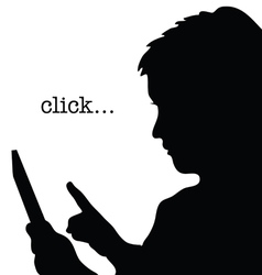 Child with tablet click silhouette vector