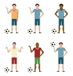 Set of football players vector
