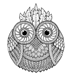 Birds theme Owl black and white mandala with vector image