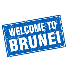 Brunei blue square grunge welcome to stamp vector