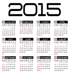 Calendar for the year 2015 vector image vector image